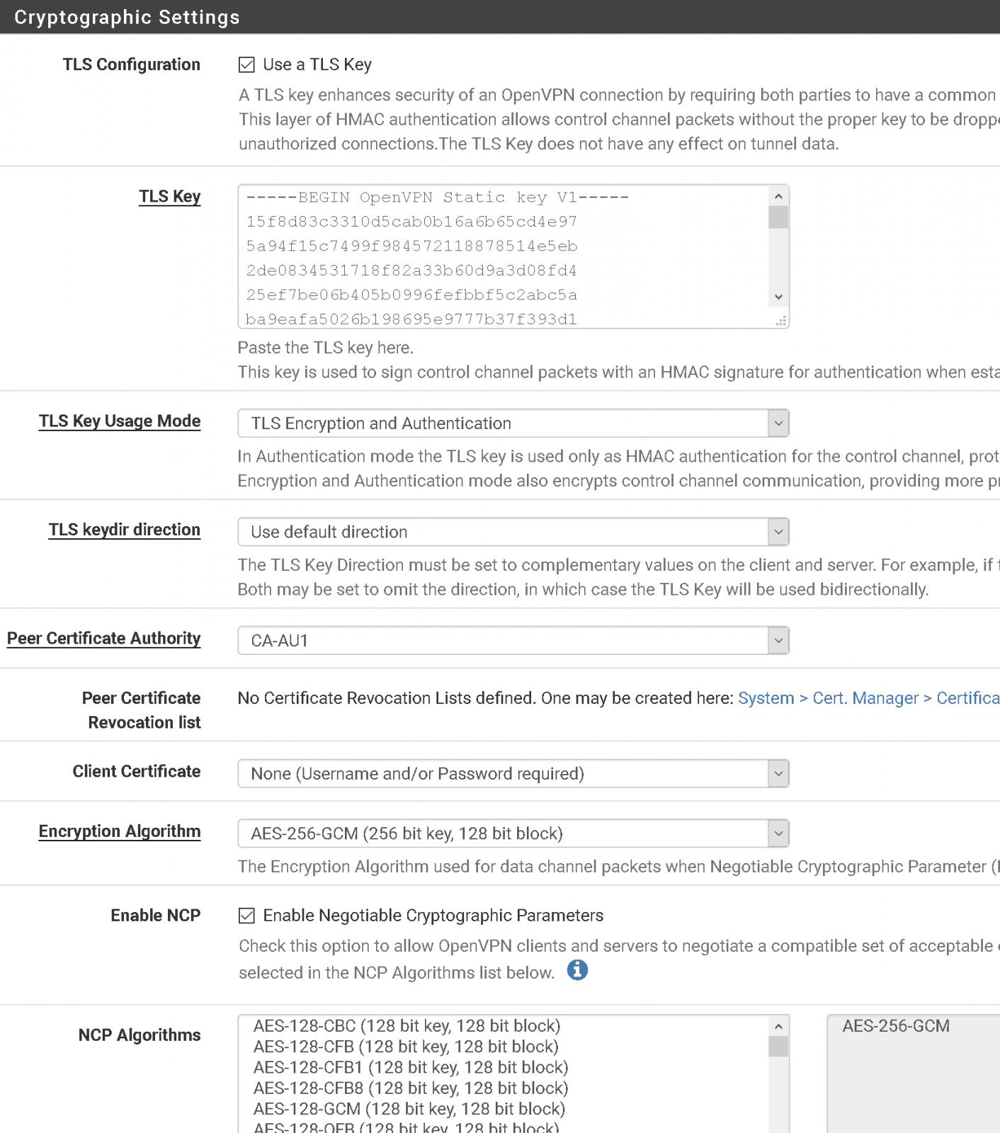 pfsense openvpn client crypto