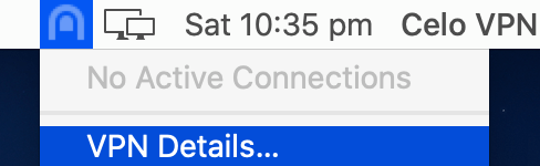 Celo VPN macOS VPN Details menu