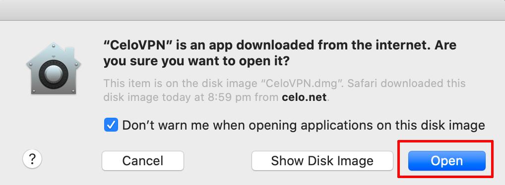 Celo VPN macos install open warning