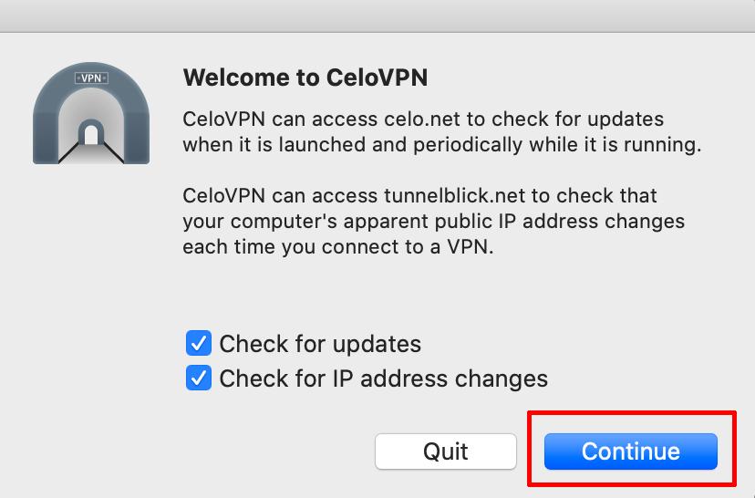 Celo VPN macos install welcome