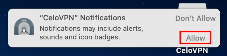 Celo VPN macos notifications