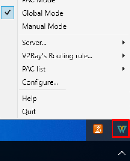 windows v2rayw-vmess globbal mode