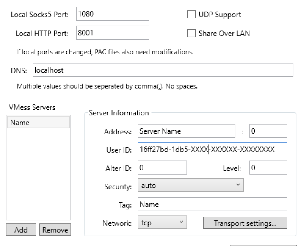 windows v2rayw-vmess server settings